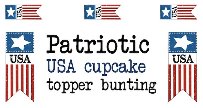 Print these 4th of July cupcake topper bunting flags for your patriotic American celebration. USA!
