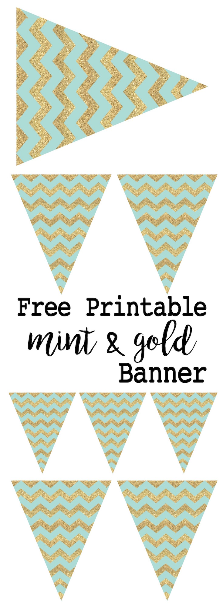 Mint and Gold Banner Free Printable - Paper Trail Design
