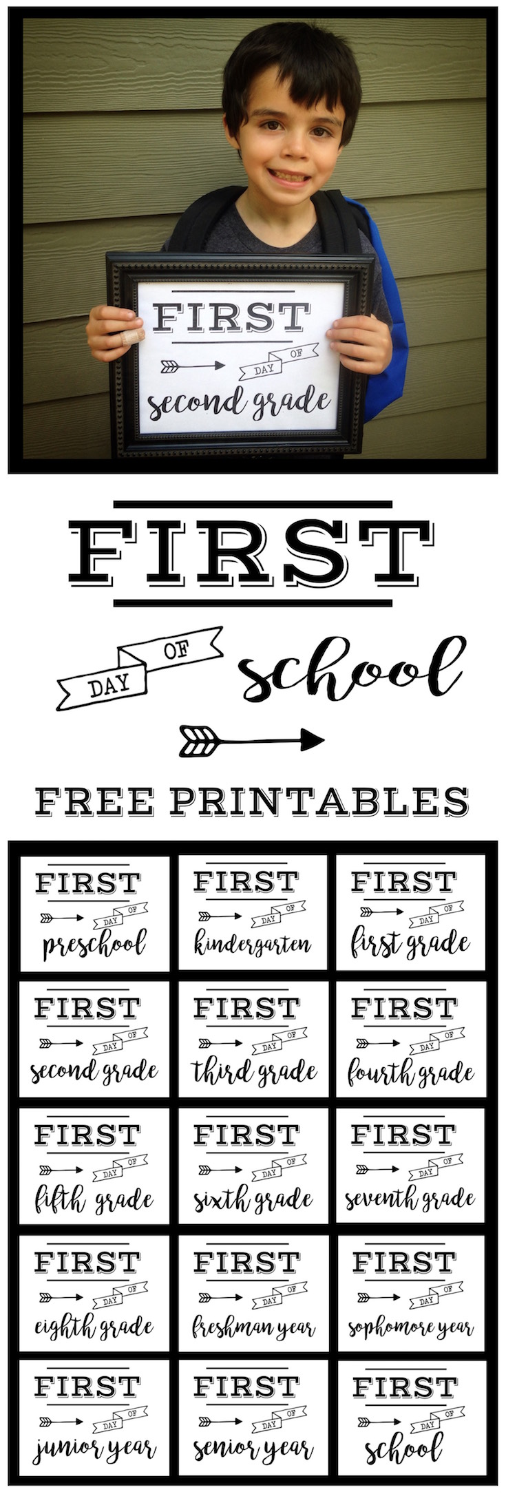medium resolution of First Day of School Sign Free Printable   Paper Trail Design