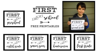 First Day of School Sign Free Printable poster. Preschool, Kindergarten, First Grade, through Senior year. Print this sign for back to school pictures.