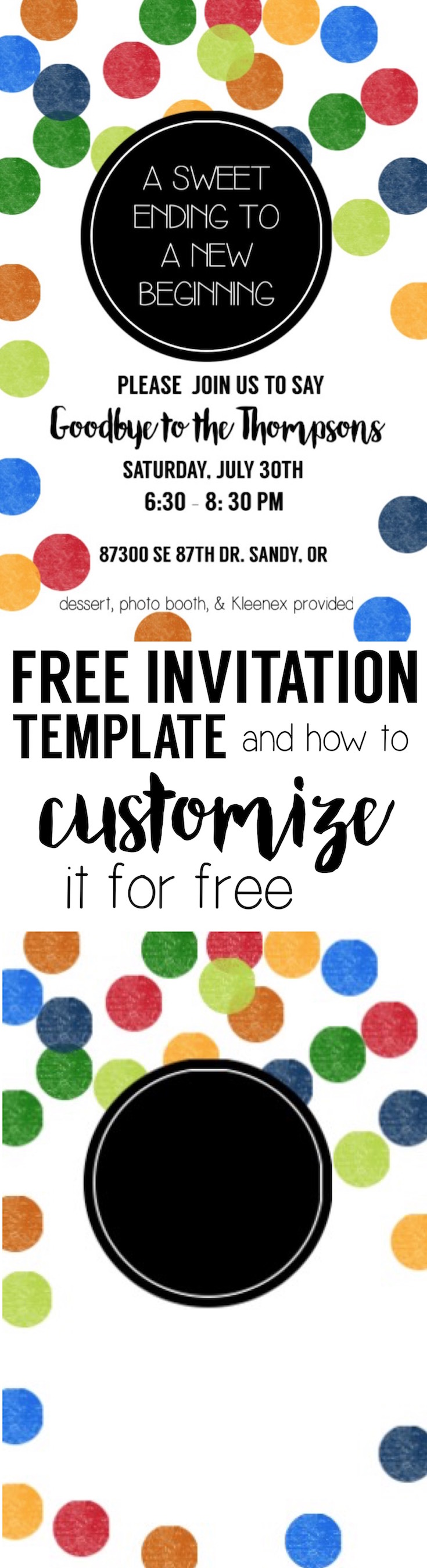 Colorful Party Invitation Free Template. Customize this invite easily with free online software and our tutorial. Cute rainbow color polka dots.