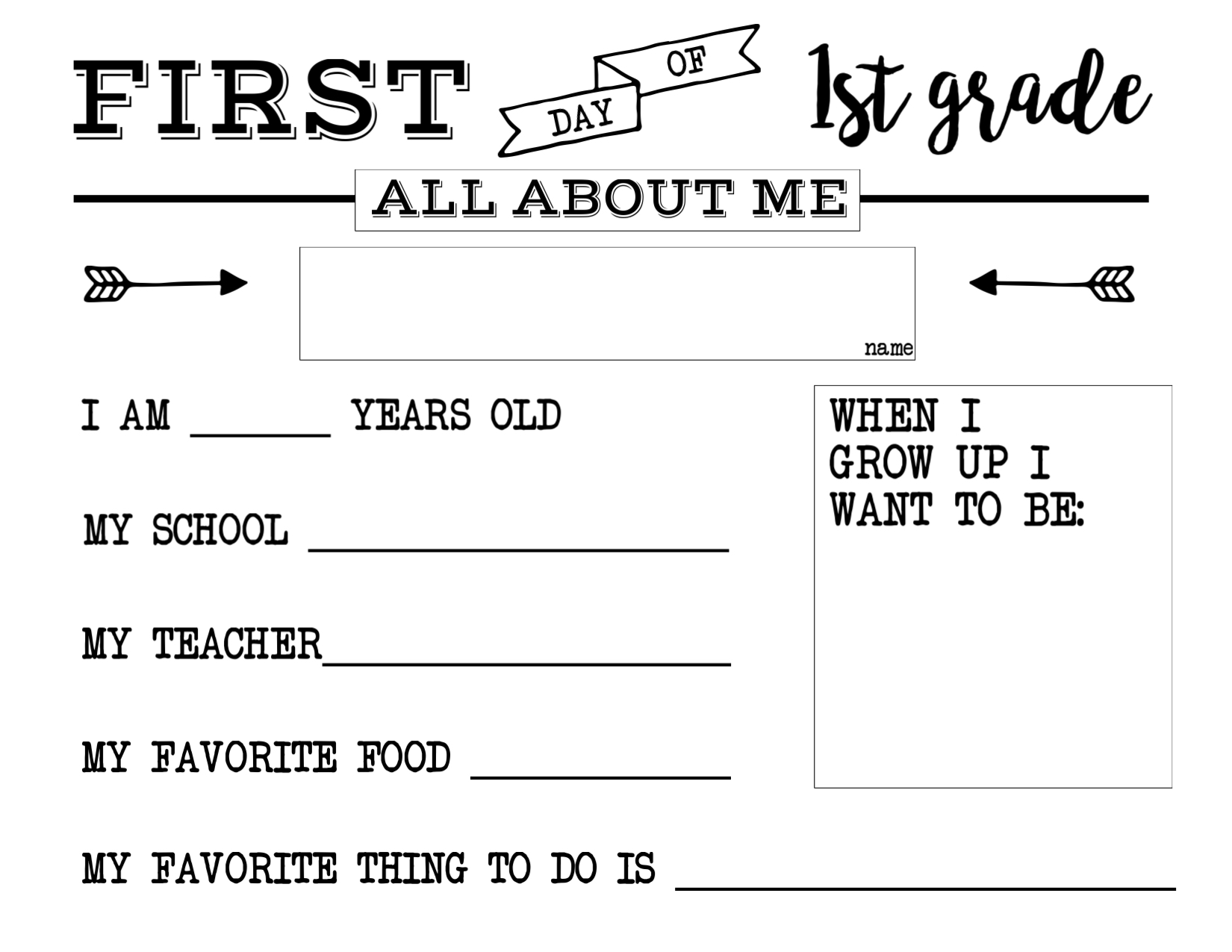 hight resolution of First Day of School All About Me Sign   Paper Trail Design