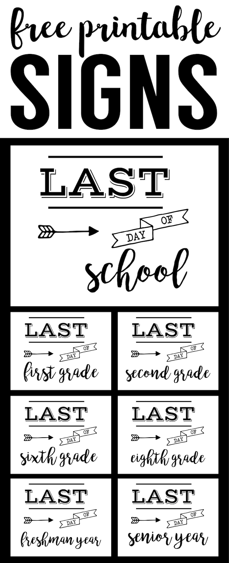 photo regarding Last Day of Preschool Sign Printable known as Ultimate Working day of University Indication No cost Printable - Paper Path Style