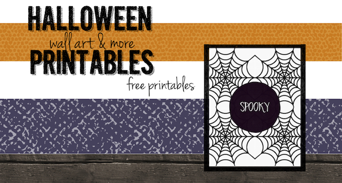 Spooky Halloween Spider Web Free Printable. Decorate your house for Halloween with this free wall art.