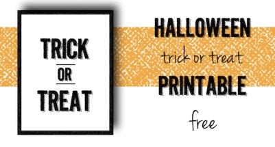 Halloween Trick or Treat Free Printable. Print this wall art decor for a fun festive and spooky Halloween. Cute and easy Halloween decoration.