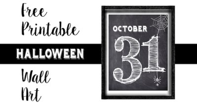 Halloween October 31 Wall Art Free Printable. Free cute seasonal home decor on the cheap. Just print and frame this decoration.