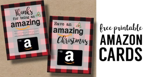 Printable Christmas Gift Card Holders for Amazon. Print free printable buffalo plaid flannel Christmas cards for Amazon gift cards. Teacher gift or Friend gift.