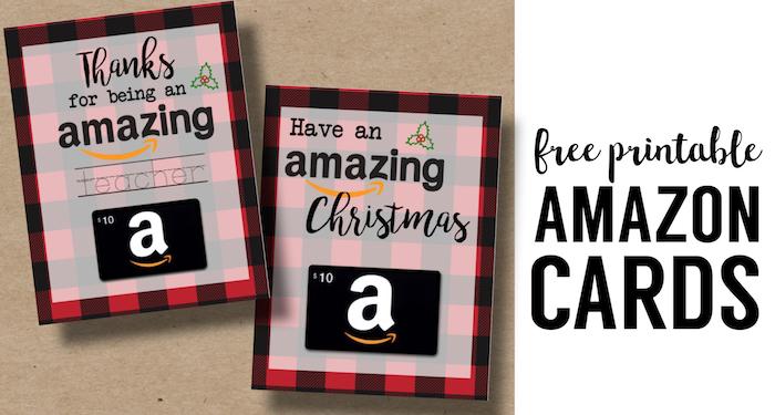 Printable Christmas Gift Card Holders for Amazon. Print free printable buffalo plaid flannel Christmas cards for Amazon gift cards. Teacher gift or Friend gift.