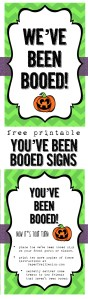 We've been booed free printable sign. Start the halloween you've been booed game. free printables including a sign that says you have been booed for your front window.