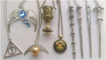 Harry Potter necklace set, wands, house cup, hogwarts crest, golden snitch, ravenclaw, and deathly hallows makes one of the best gifts.