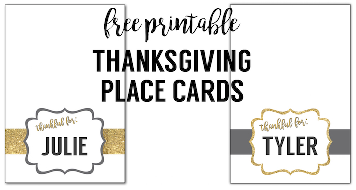 graphic regarding Gold Printable Place Cards named Totally free Printable Thanksgiving Room Playing cards - Paper Path Design and style