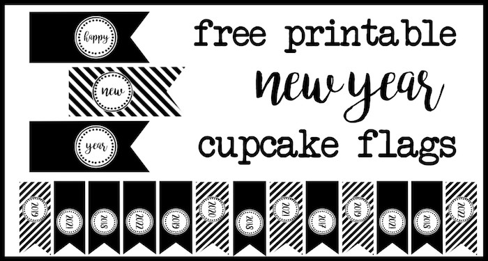 Happy New Year Cupcake Toppers Paper Trail Design