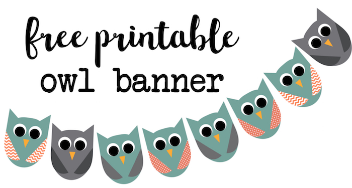 image relating to Owl Printable named Totally free Printable Owl Banner Owl Bash - Paper Path Style