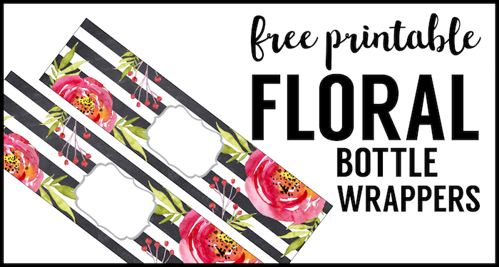 photo relating to Free Printable Labels for Bottles called Flower Drinking water Bottle Labels Free of charge Printable - Paper Path Layout