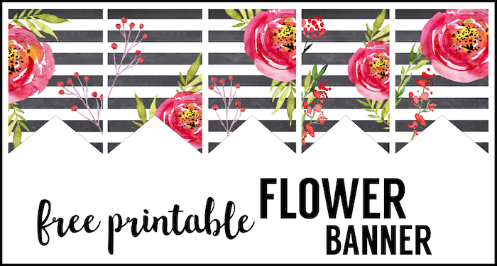 Watercolor Flower Banner Free Printable Paper Trail Design