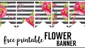 Watercolor Flower Banner Free Printable