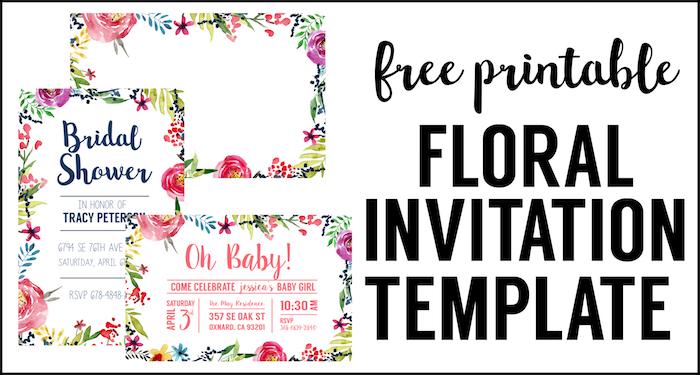 Floral Borders Invitations {Free Printable Invitation Templates}  Free Party Invitation Template