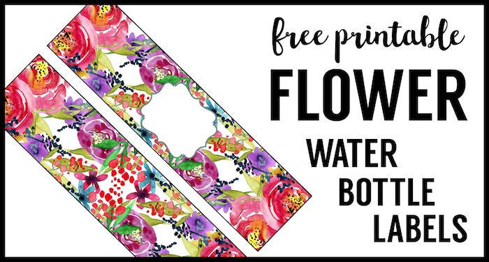 Spring Water Bottle Labels Free Printable. Flower Water Bottle wrappers for a floral baby shower, birthday party, or bridal shower.