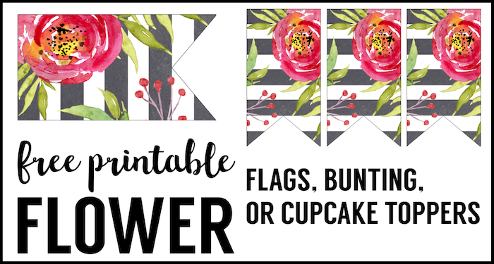 Flower Cupcake Topper Flags Free Printable. Floral bunting free printable for a garden party, baby shower, wedding, bridal shower, or birthday party decrations.