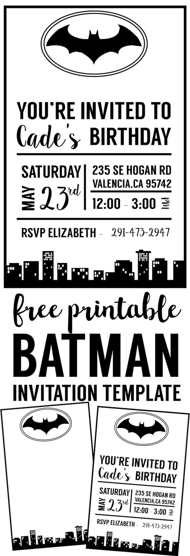 picture relating to Printable Batman Invitations referred to as Absolutely free Batman Invitation Template - Paper Path Structure