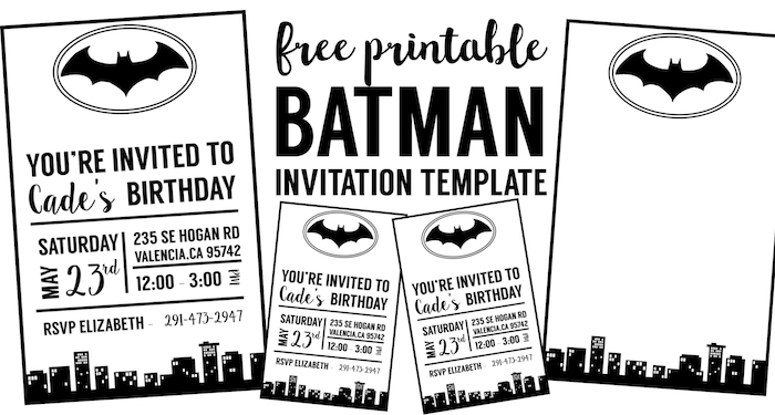 free batman invitation template paper trail design