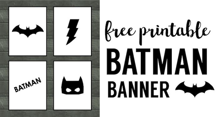 Batman Party Banner Free Printable. Easy decor for a Batman birthday party. Cheap DIY Batman party supplies.