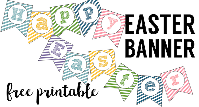picture regarding Easter Banner Printable identified as Easter Banner Free of charge Printable Pleased Easter - Paper Path Design and style