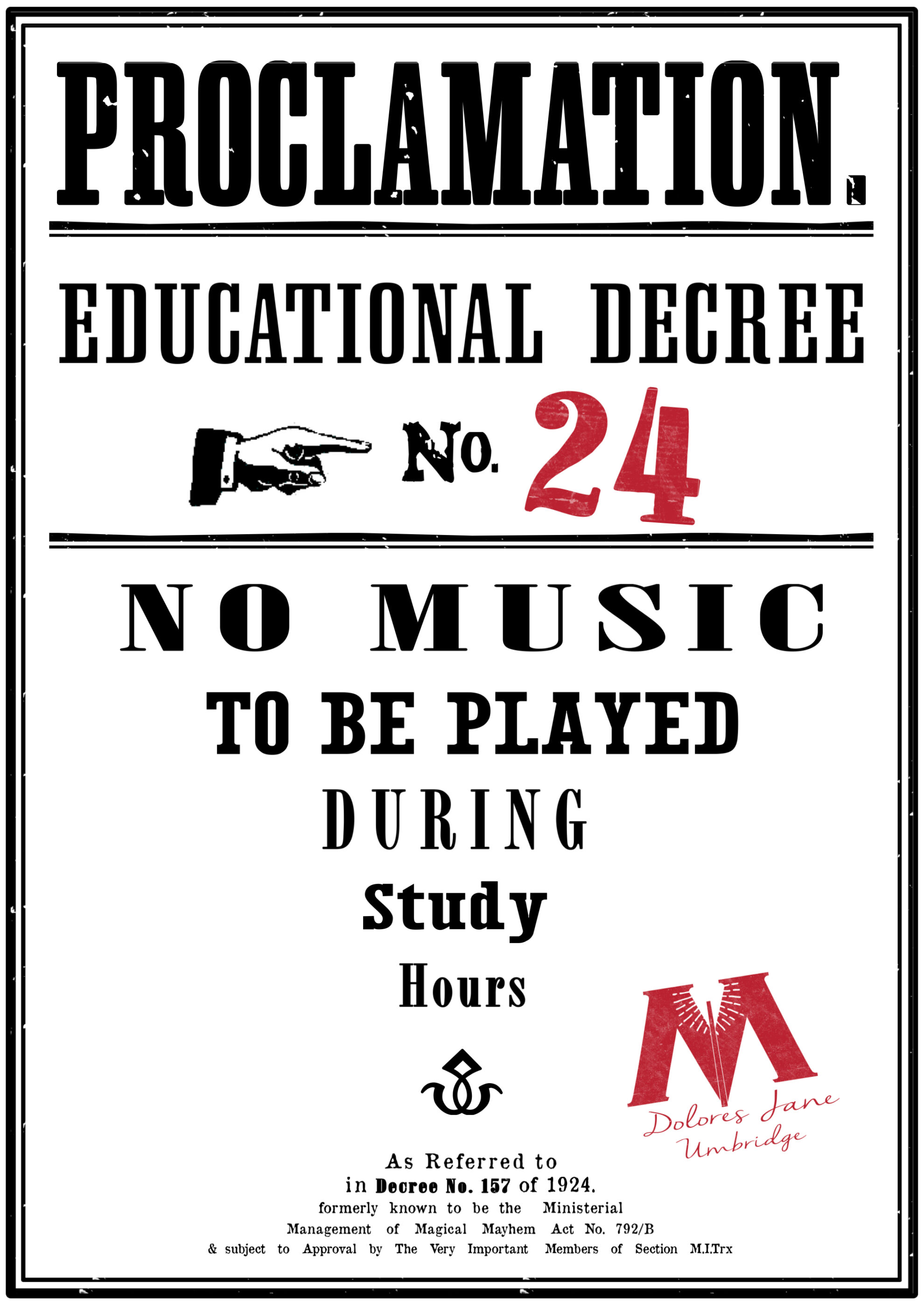Harry Potter Educational Decrees Free Printables