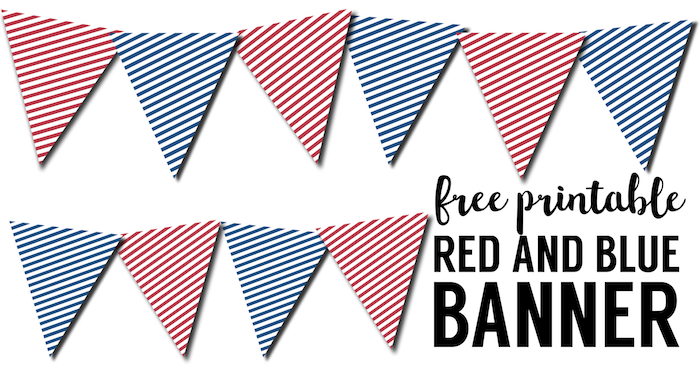 Red White Blue Pennant Banner Free Printable. Patriotic striped red white and blue pennant banner for 4th of July, Memorial day, or Veterans day decor.