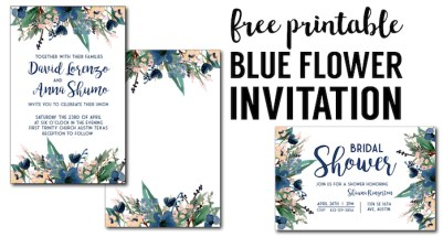 Blue Printable Invitation Templates. These free invitation templates are perfect for a wedding, bridal shower, baby shower, birthday party, or graduation party invitation.,