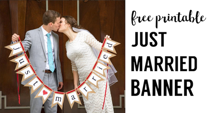 Free Printable Just Married Banner. Free printable Wedding banner printable makes for fun wedding photo props or easy DIY just married car signs.