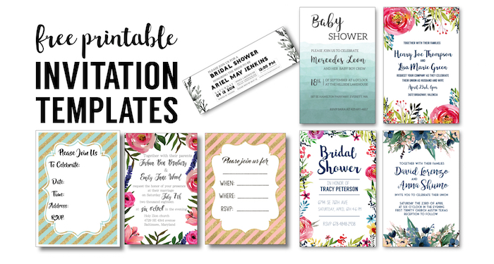 Party Invitation Templates Free Printables. DIY Free Wedding Invitation,  Bridal Shower, Baby Shower
