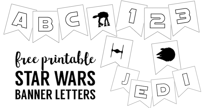 Star Wars Printables { Free Star Wars Printable Banner }. Make a custom star wars banner for your next star wars birthday party, wedding, baby shower, graduation, Father's Day, Mother's Day, or May the 4th be with you celebration.