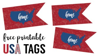 Fourth July Printable Decorations {USA flag printable}. Easy DIY July 4th crafts. July 4th printables. Patriotic Memorial or Veteran's Day cupcake toppers