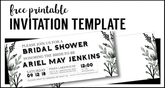 Black White Flowers Invitations Templates Free Printable Paper - Black and white bridal shower invitation templates