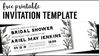 Black White Flowers Invitations Templates Free Printable