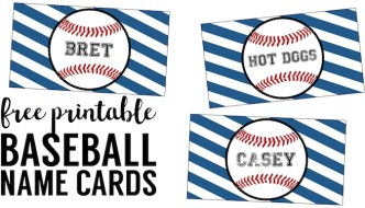 Baseball Place Card Holders Free Printable