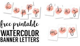 Coral Watercolor Banner Free Printable. Customize this watercolor banner template for a baby shower, wedding, bridal shower, birthday party, classroom.