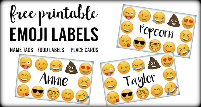 Emoji labels emoji place cards emoji food labels paper trail design emoji labels emoji place cards emoji food labels emoji birthday party free printable bookmarktalkfo Image collections