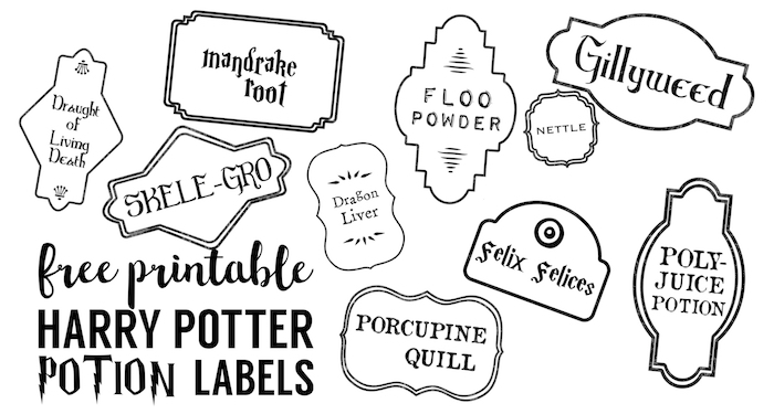 graphic about Printable Harry Potter Potion Labels named Harry Potter Archives - Paper Path Style