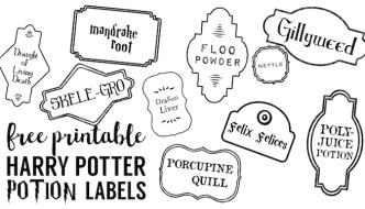 Harry Potter Potion Labels Printable. Free Halloween potion labels. Use this free printable to make Harry Potter potion bottle labels.