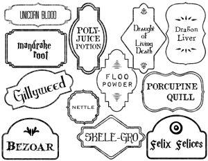 Harry Potter Potion Labels Printable. Free Halloween potion labels. Use this free printable to make Harry Potter potion bottle labels.