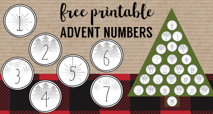 Christmas Advent Calendar Printable Numbers Paper Trail Design