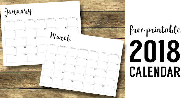 photo relating to Monthly Calendar Printable identified as 2018 Calendar Printable No cost Template - Paper Path Design and style