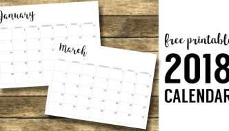2018 Calendar Printable Free Template