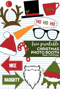 Assortment of Christmas photo booth props including elf and santa hat, glasses, snowman hat, reindeer nose, with text overlay-free printable Christmas Photo Booth