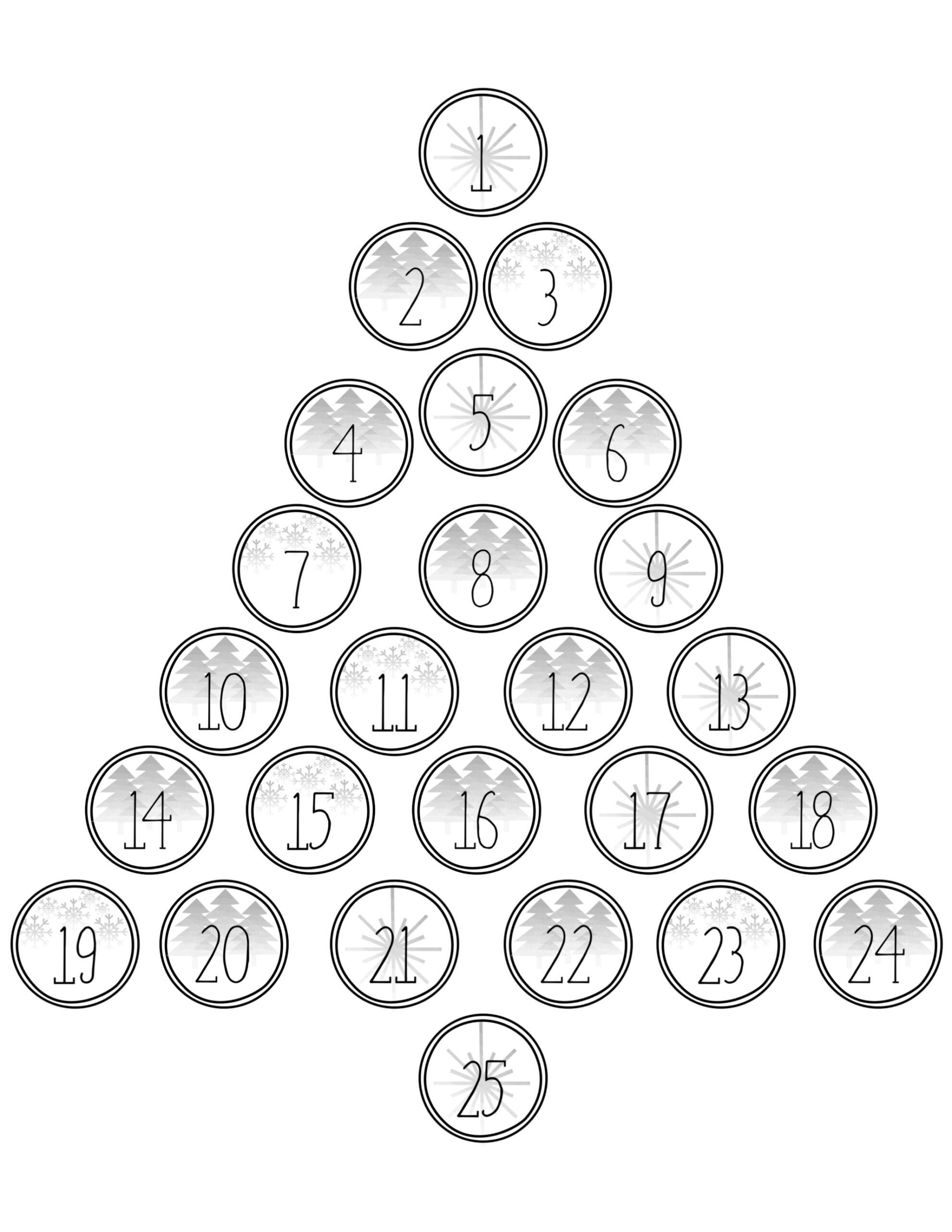 Christmas Advent Calendar Printable Numbers
