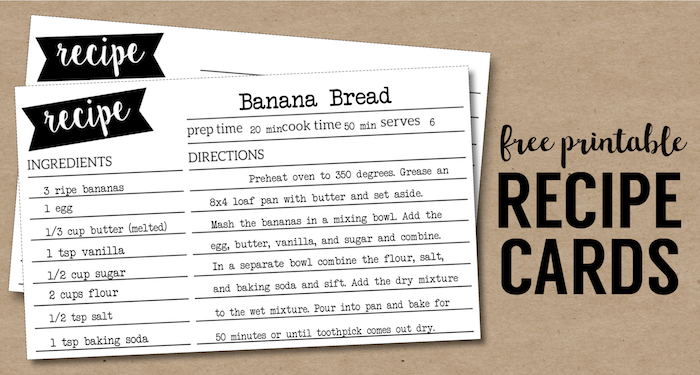 free recipe card template printable