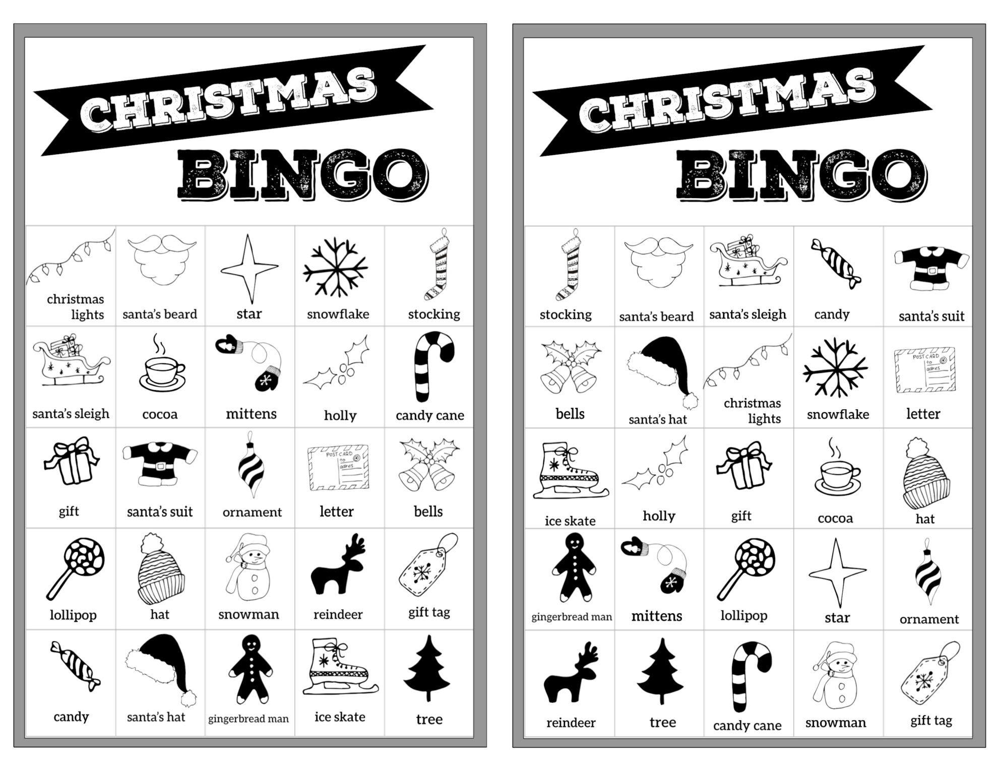 Free Christmas Bingo Printable Cards