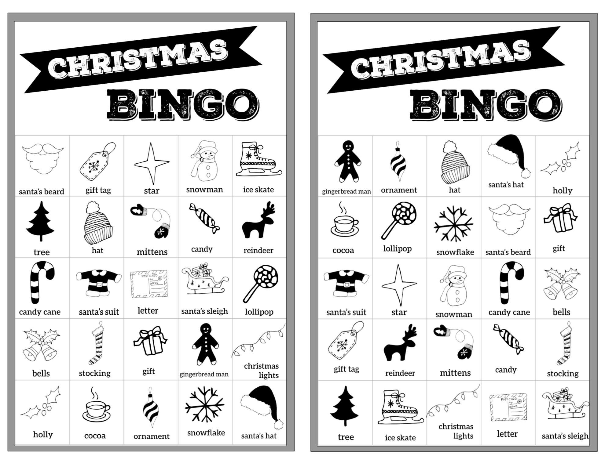 Free Christmas Bingo Printable Cards - Paper Trail Design